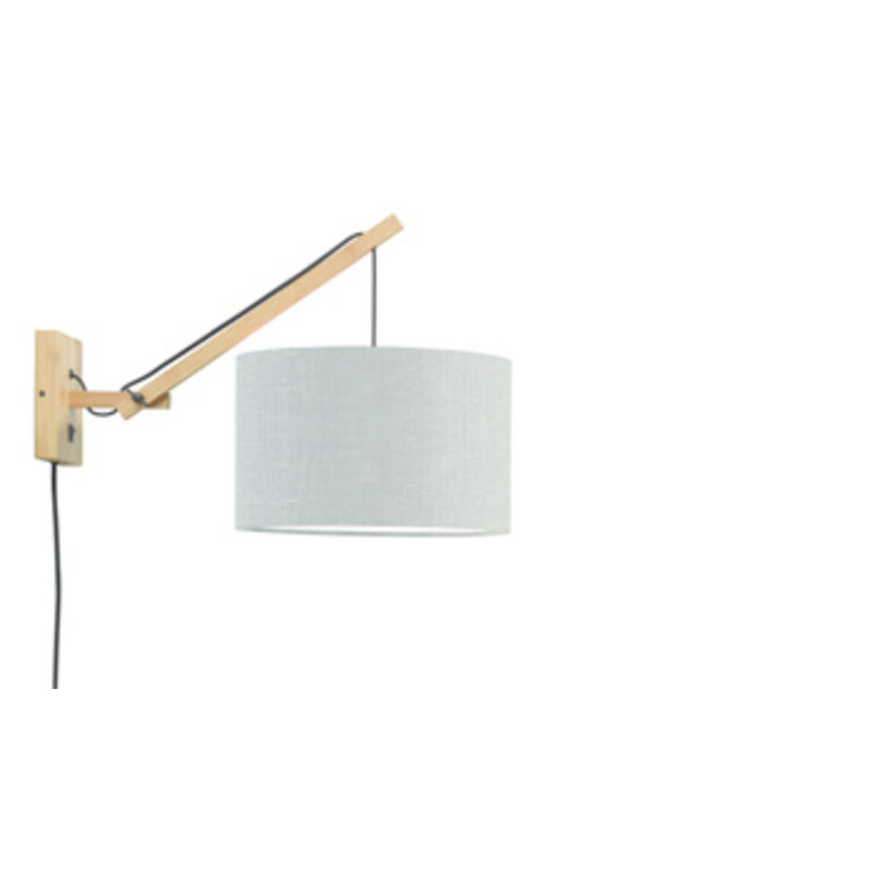 Good&Mojo-collectie Wall lamp Andes nat./shade 3220 ecolin. l.grey, S