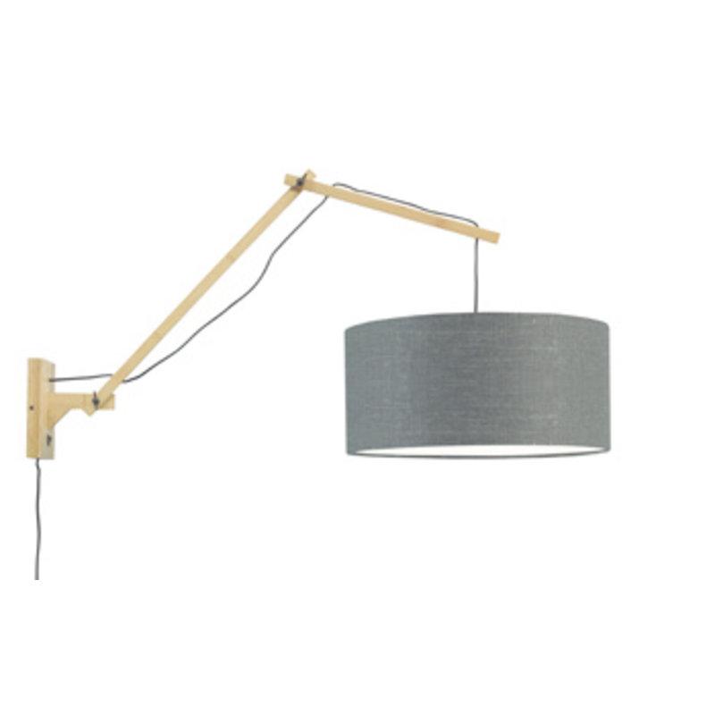 Good&Mojo-collectie Wall lamp Andes nat./shade 4723 ecolin. d.grey, L