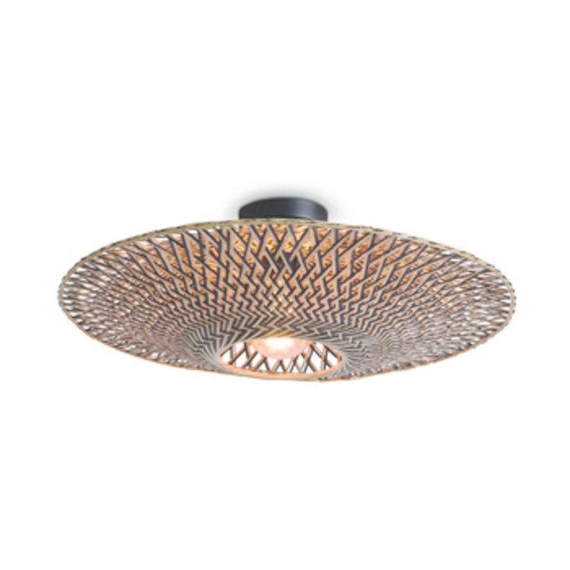 Good&Mojo-collectie Ceiling lamp Bali dia.60x15cm black/natural, M