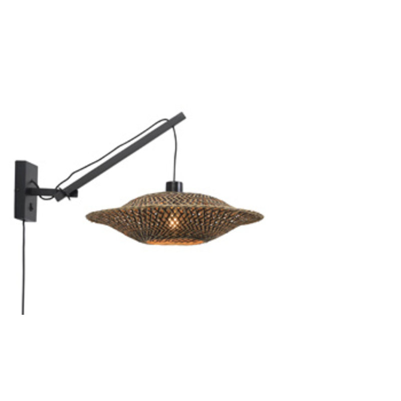 Good&Mojo-collectie Wall lamp Bali black/shade dia.44x12cm bl./nat., S