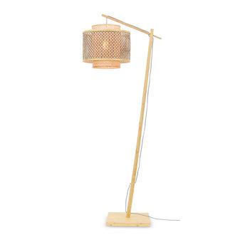Good&Mojo Floor lamp Bhutan nat. h.176cm/shade 40x34cm bl./nat. S