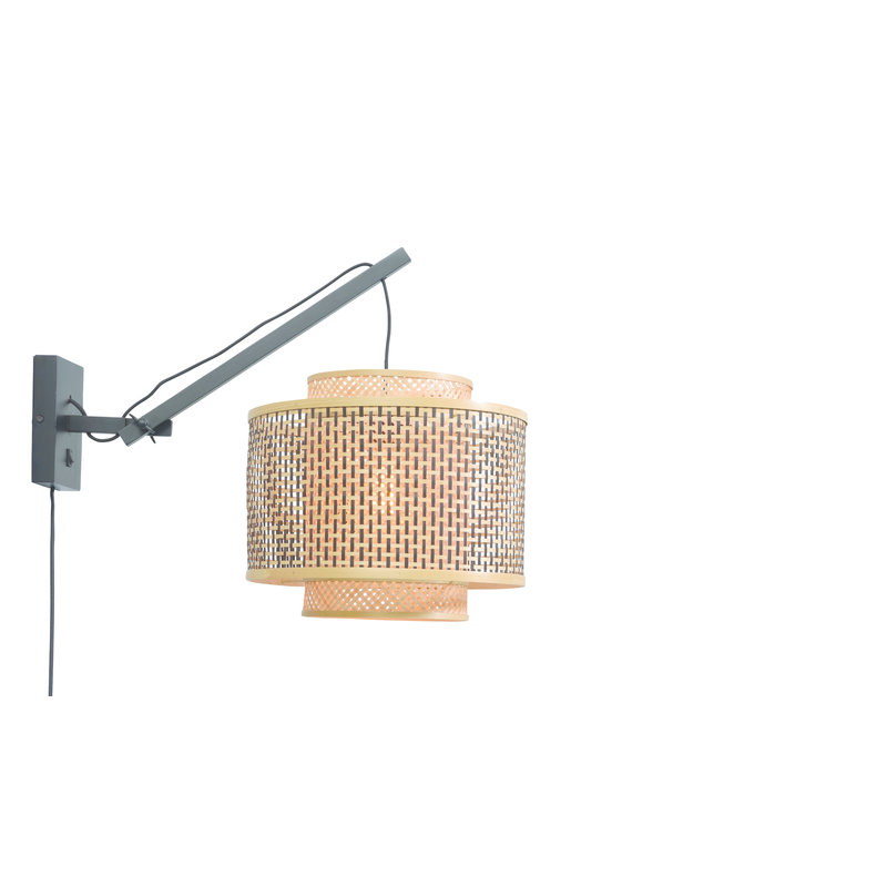 Good&Mojo-collectie Wall lamp Bhutan bl./shade 40x34cm bl./nat. S