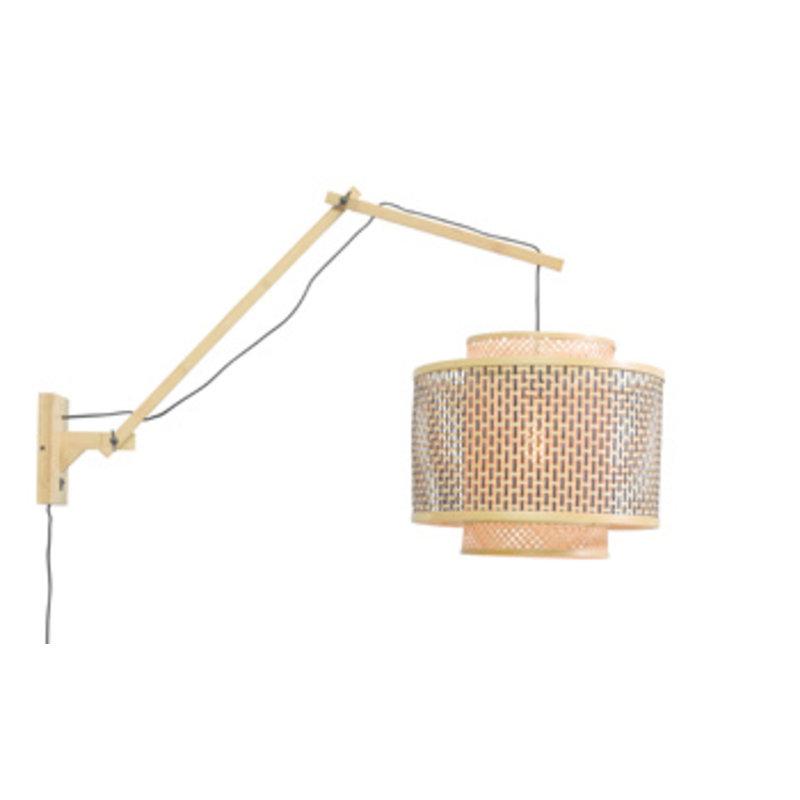 Good&Mojo-collectie Wall lamp Bhutan natural/shade dia.40x34cm bl./nat. L