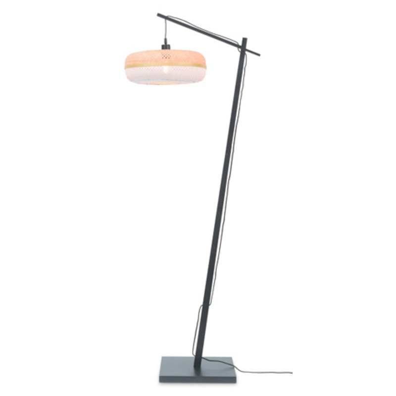 Good&Mojo-collectie Floor lamp Palawan bl. h.176cm/shade 40x15cm nat./wh.