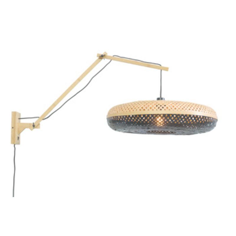Good&Mojo-collectie Wall lamp Palawannat./shade dia.60x15cm nat./bl. L