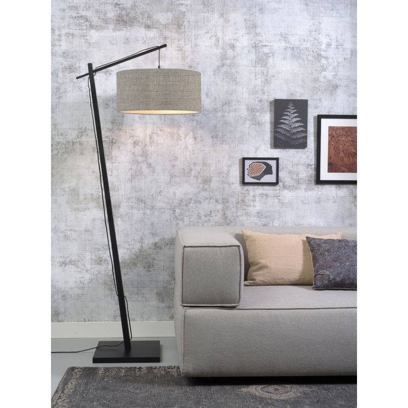 Good&Mojo-collectie Floor lamp Andes bl./shade 4723 ecolin. d.linen