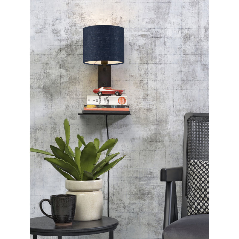 Good&Mojo-collectie Wall lamp Andes bl. shelf/shade 1815 ecolin. bl.denim