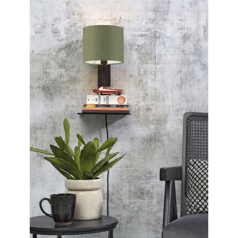 Good&Mojo-collectie Wall lamp Andes bl. shelf/shade 1815 ecolin. gr.forest