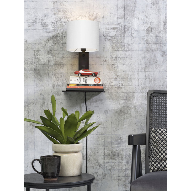 Good&Mojo-collectie Wall lamp Andes bl. shelf/shade 1815 ecolin. white