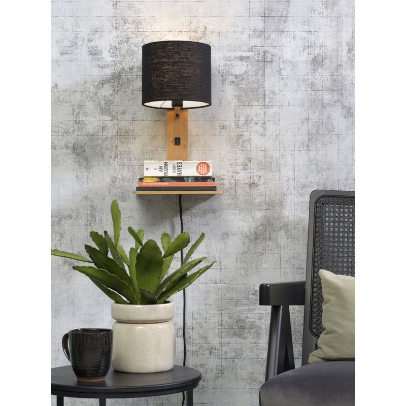 Good&Mojo-collectie Wall lamp Andes nat. shelf/shade 1815 ecolin. bl.