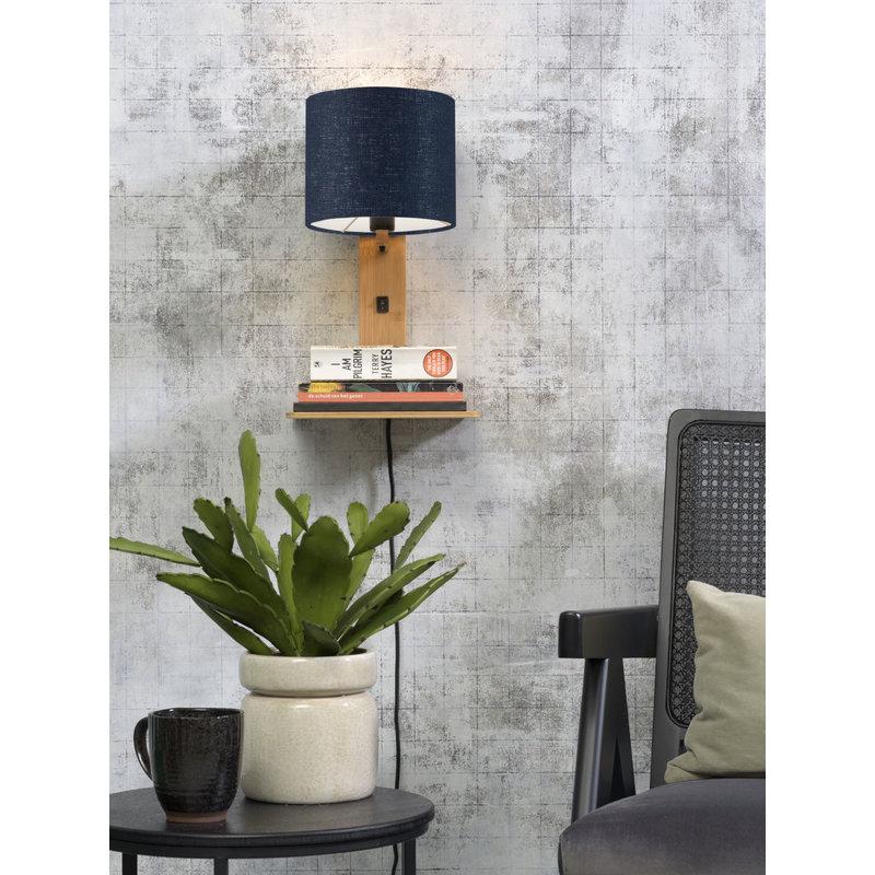 Good&Mojo-collectie Wall lamp Andes nat. shelf/shade 1815 ecolin. bl.denim