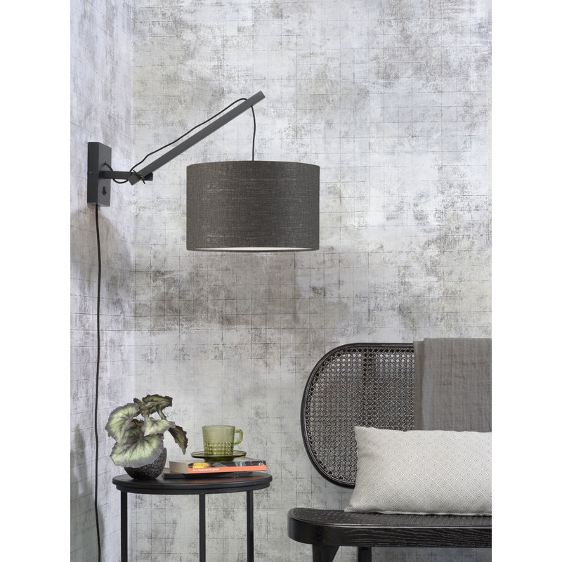 Good&Mojo-collectie Wall lamp Andes black/shade 3220 ecolin. d.grey, S