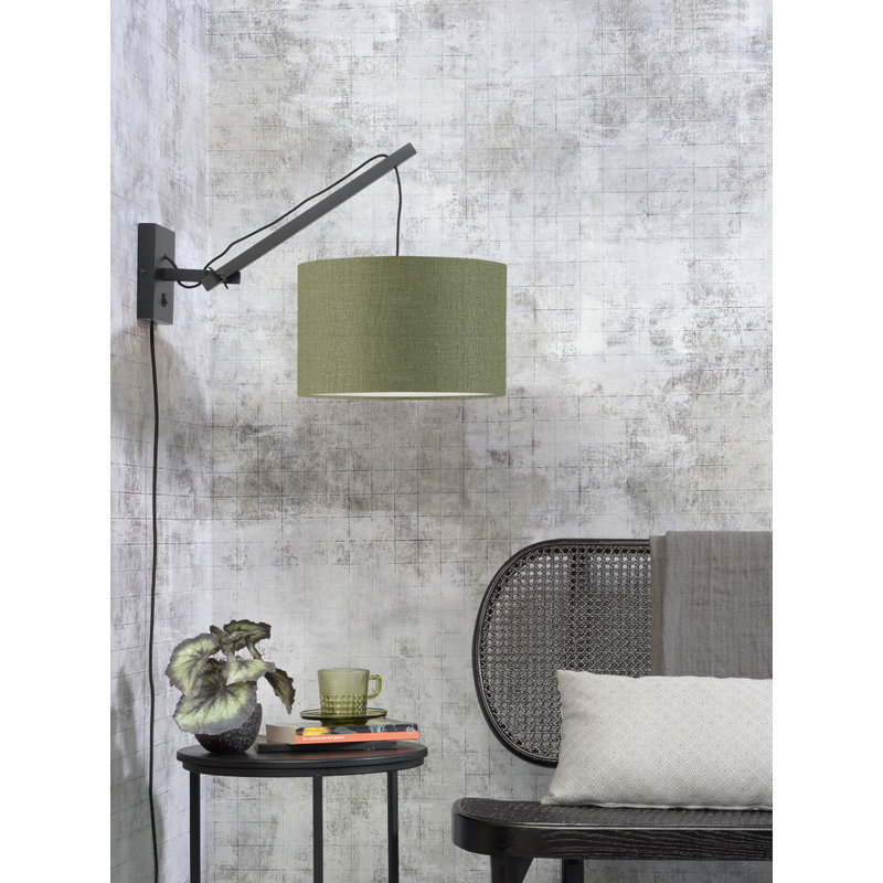 Good&Mojo-collectie Wall lamp Andes black/shade 3220 ecolin. gr.forest, S