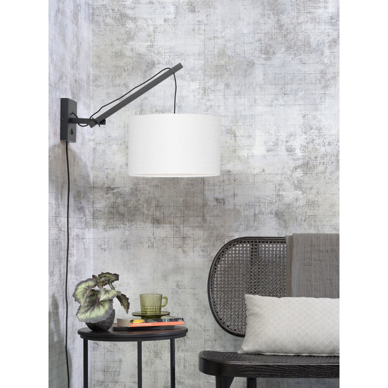 Good&Mojo-collectie Wall lamp Andes black/shade 3220 ecolin. white, S