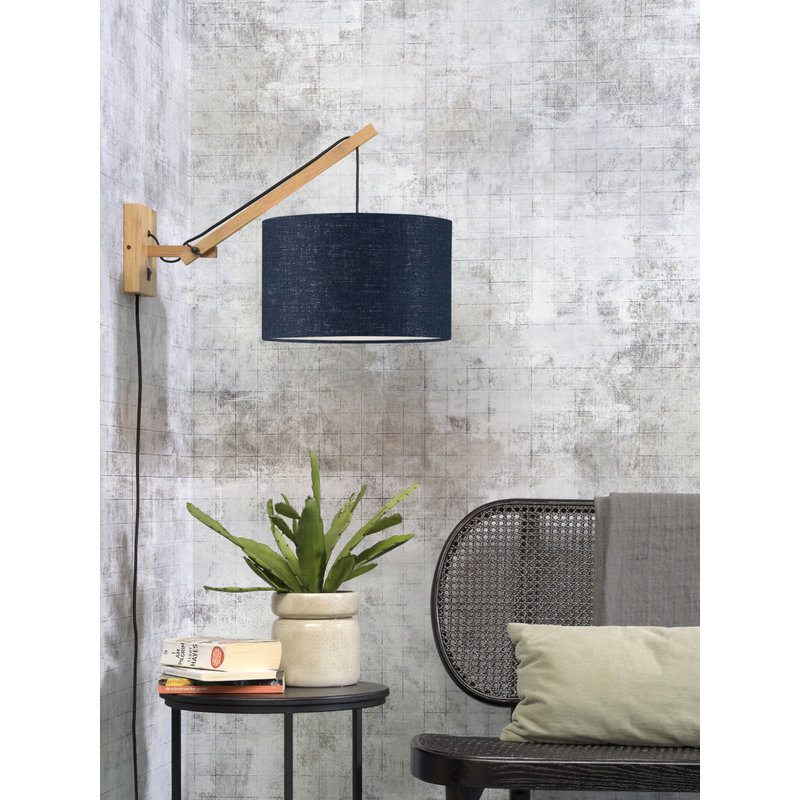 Good&Mojo-collectie Wall lamp Andes nat./shade 3220 ecolin. bl.denim, S