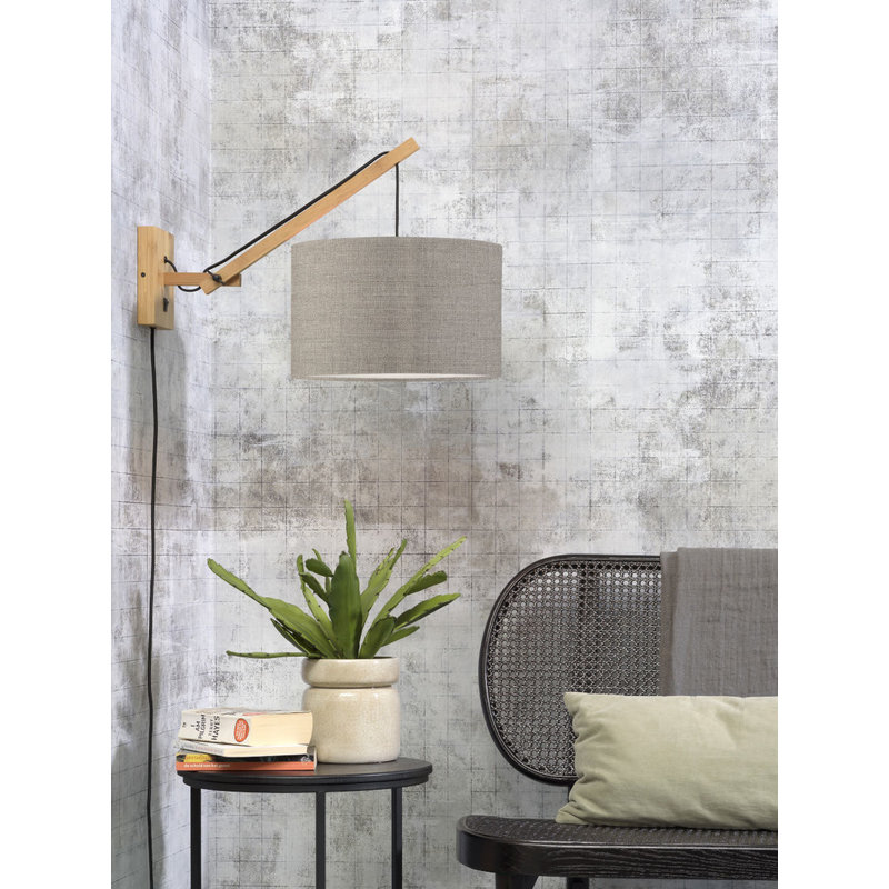 Good&Mojo-collectie Wandlamp Andes naturel/donker linnen S