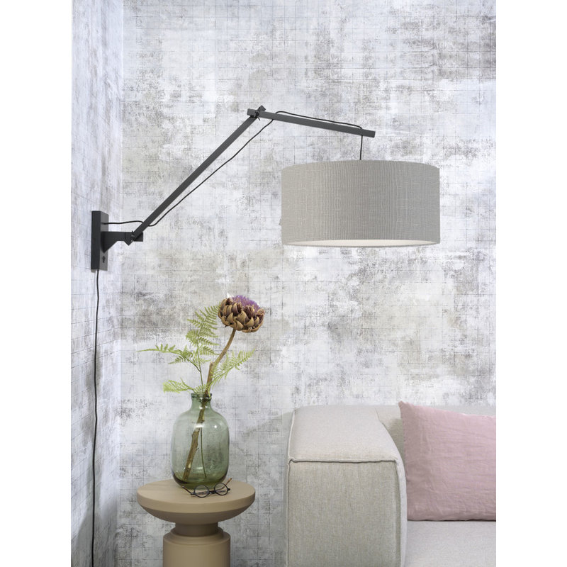 Good&Mojo-collectie Wall lamp Andes bl./shade 4723 ecolin. l.grey, L