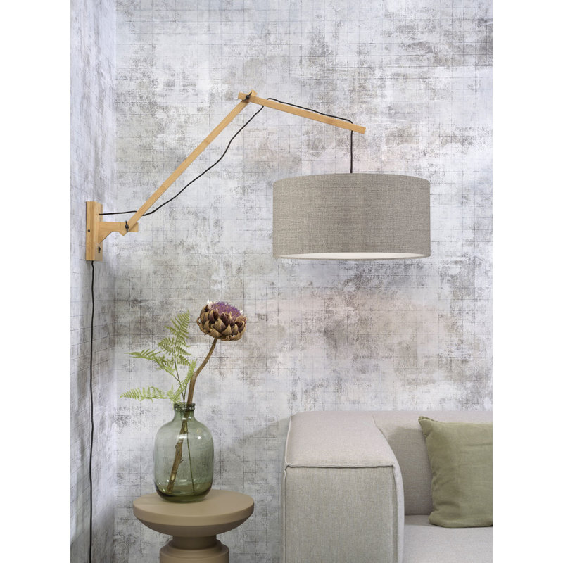 Good&Mojo-collectie Wandlamp Andes naturel/donker linnen L