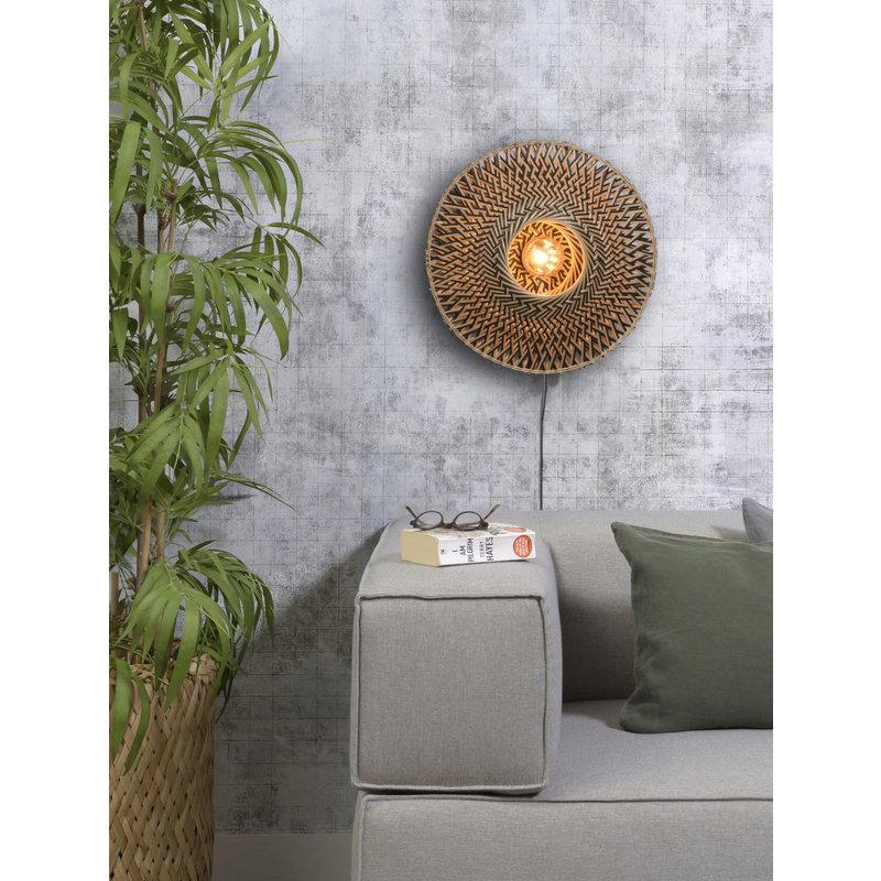 Good&Mojo-collectie Wall lamp Bali dia.44x12cm black/natural, S