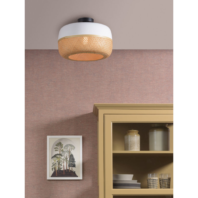 Good&Mojo-collectie Ceiling lamp Mekong dia.40x22cm wit/natural