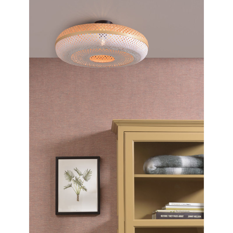 Good&Mojo-collectie Ceiling lamp Palawan 60x15cm, nat./white L