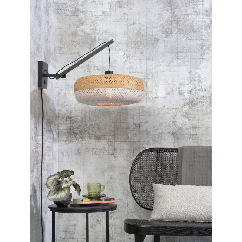 Good&Mojo-collectie Wall lamp Palawan bl./shade 40x15cm white/nat. S