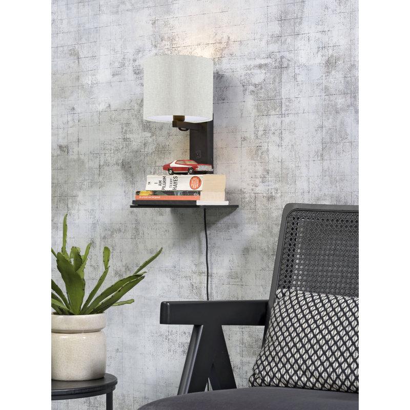 Good&Mojo-collectie Wandlamp Andes zwart/licht linnen