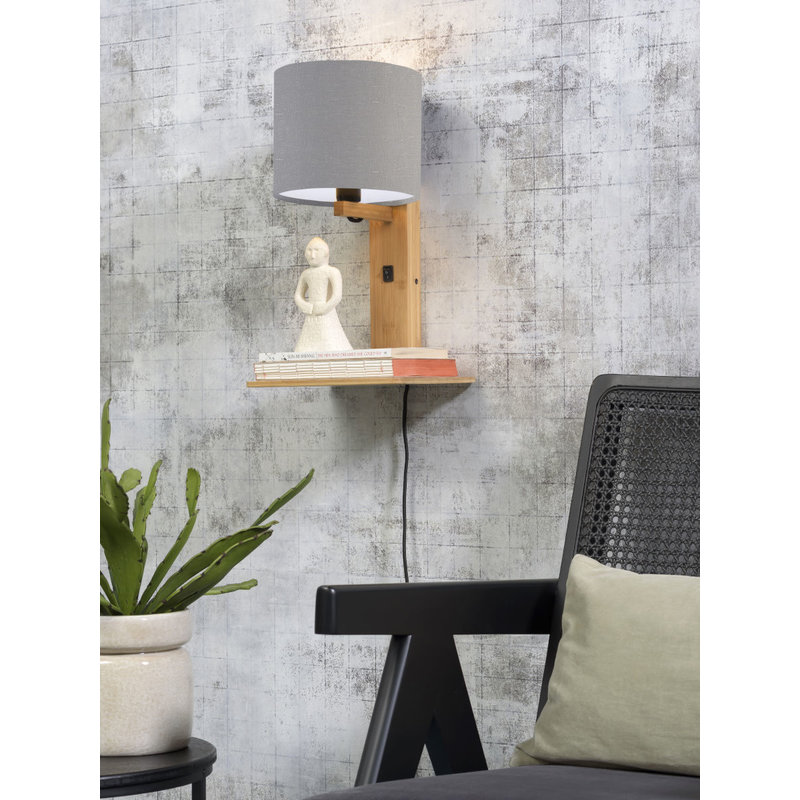Good&Mojo-collectie Wall lamp Andes nat. shelf/shade 1815 ecolin. l.grey