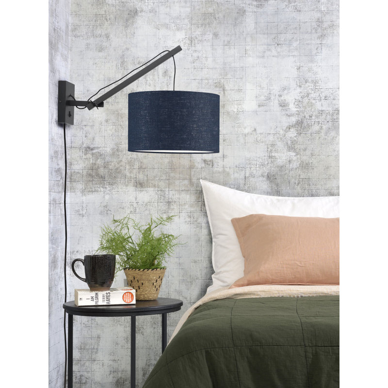 Good&Mojo-collectie Wall lamp Andes black/shade 3220 ecolin. bl.denim, S