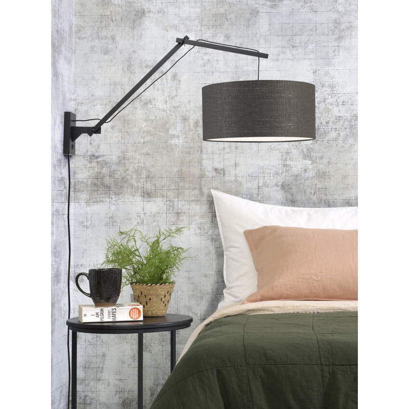 Good&Mojo-collectie Wall lamp Andes bl./shade 4723 ecolin. d.grey, L