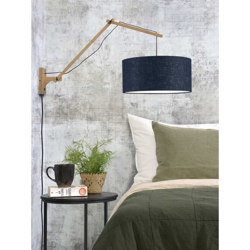 Good&Mojo-collectie Wall lamp Andes nat./shade 4723 ecolin. bl.denim, L