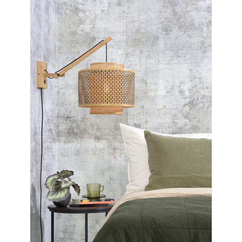 Good&Mojo-collectie Wall lamp Bhutan nat./shade 40x34cm bl./nat. S
