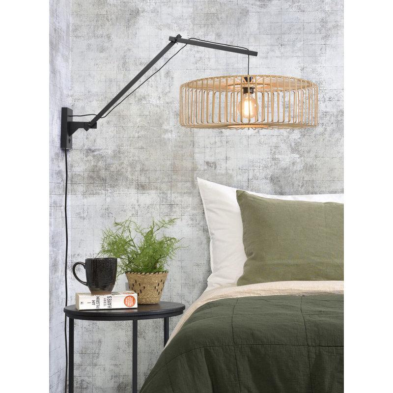 Good&Mojo-collectie Wall lamp Bromo black/shade 60x18cm natural, L