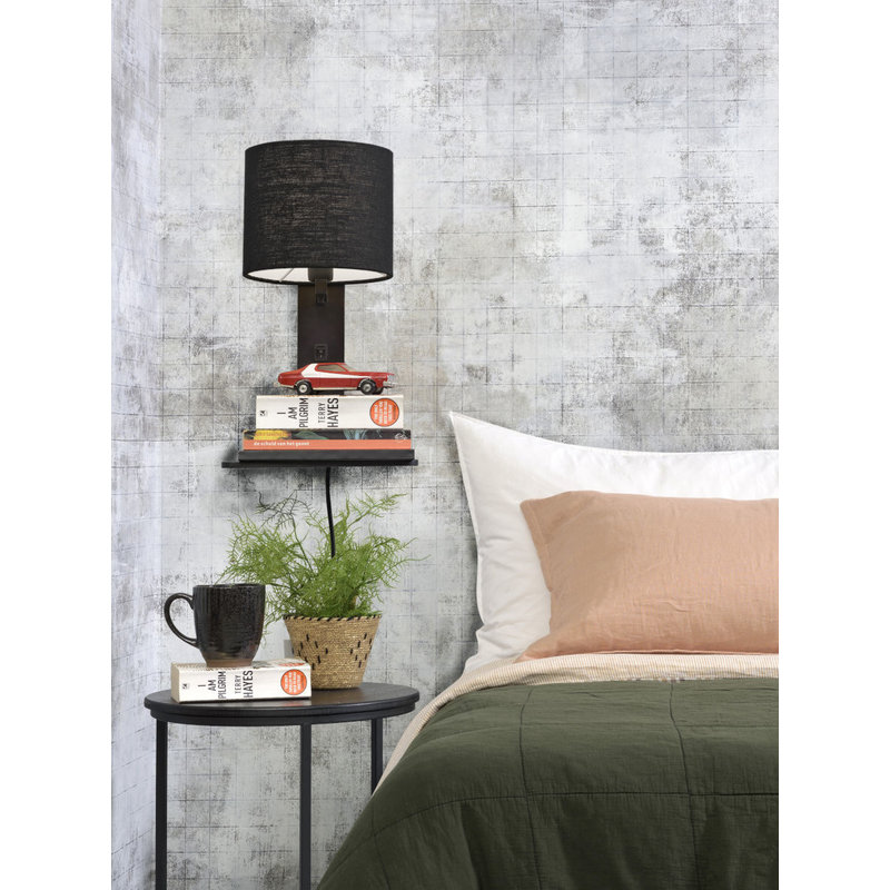 Good&Mojo-collectie Wall lamp Andes bl. shelf/shade 1815 ecolin. bl.