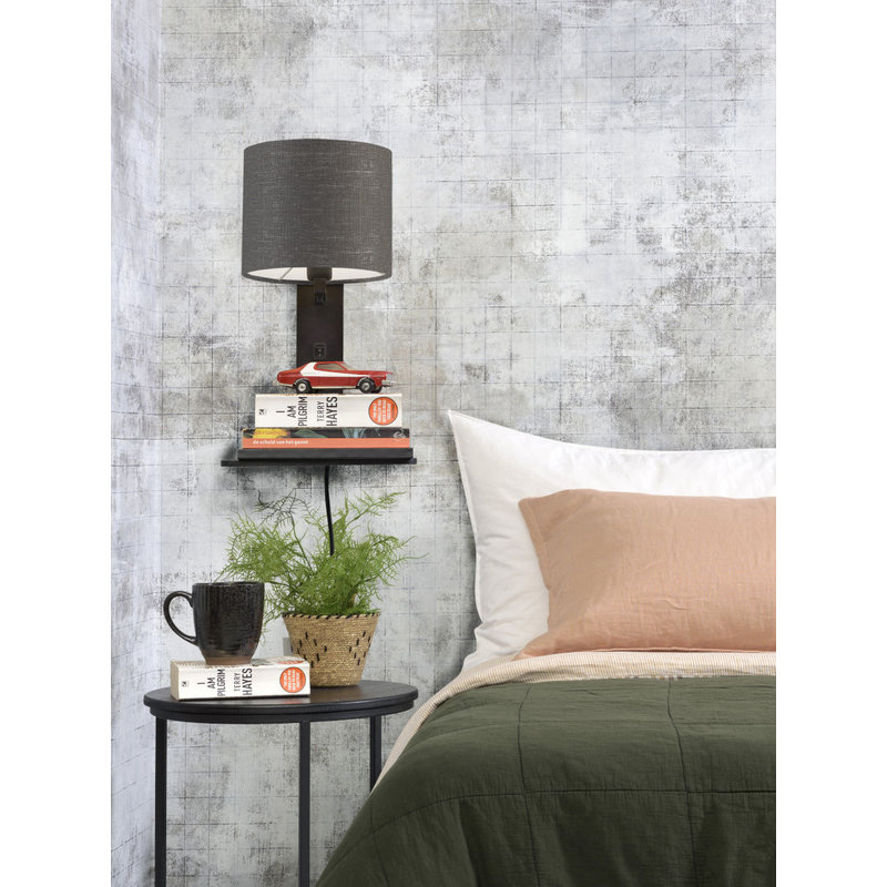 Good&Mojo-collectie Wall lamp Andes bl. shelf/shade 1815 ecolin. d.grey