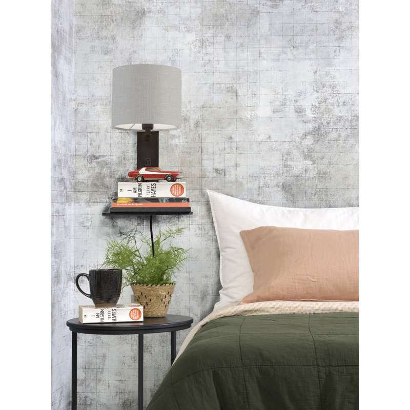 Good&Mojo-collectie Wall lamp Andes bl. shelf/shade 1815 ecolin. l.grey