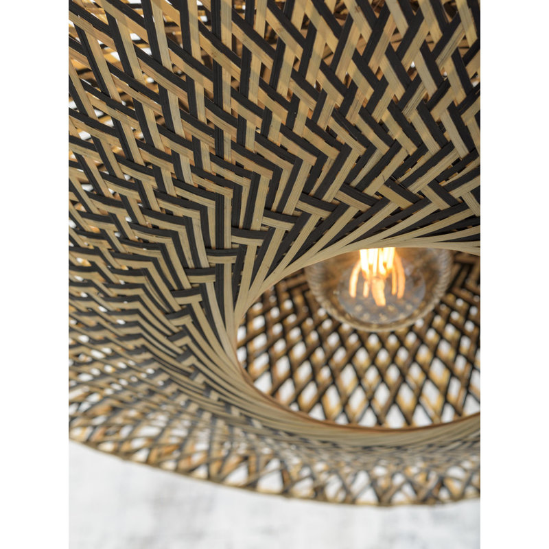Good&Mojo-collectie Hanging lamp Bali horiz. 87x20cm black/natural, L
