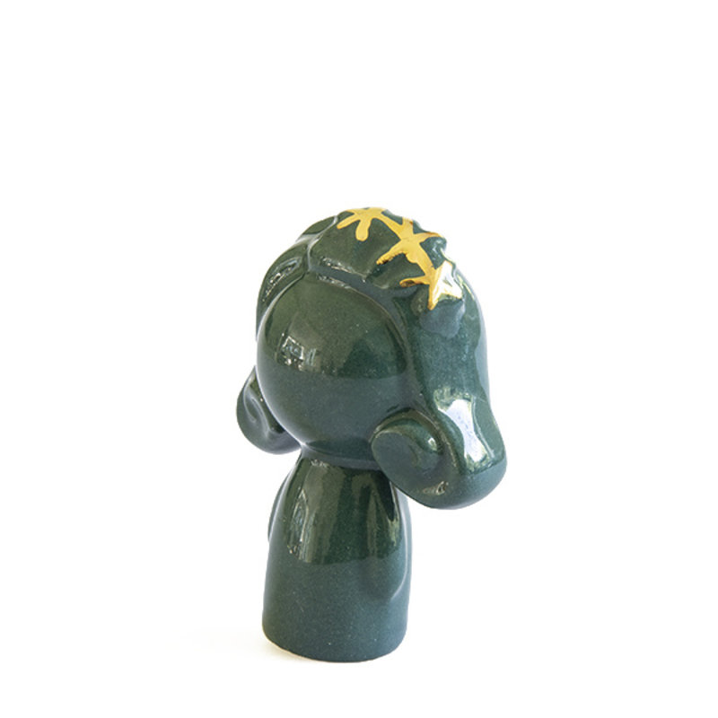 Atelier W.-collectie Ceramic figurine Doll me up hairband darkgreen with gold height 7cm