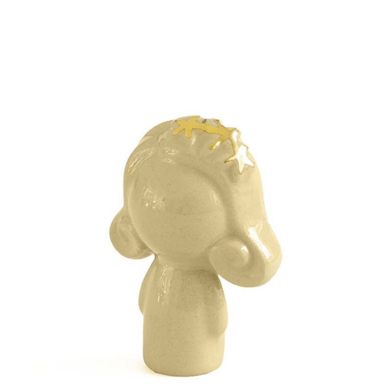 Atelier W.-collectie Ceramic figurine Doll me up hairband paleyellow with gold height 7cm