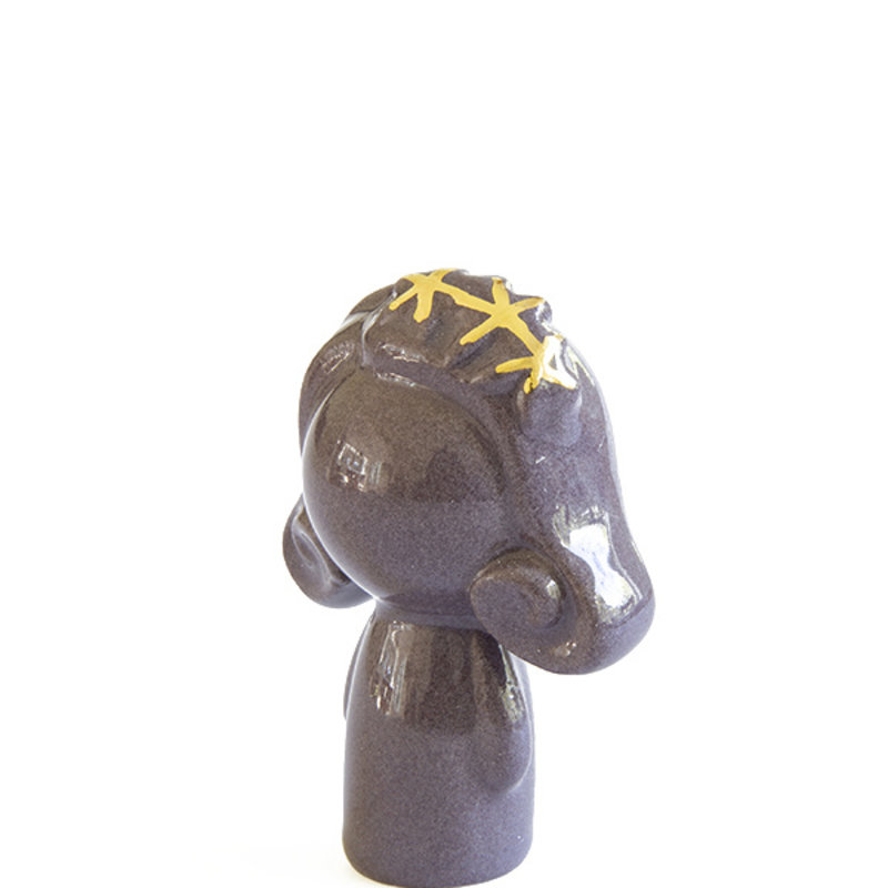 Atelier W.-collectie Ceramic figurine Doll me up hairband purple with gold height 7cm