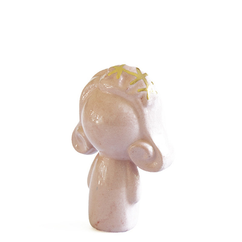 Atelier W.-collectie Ceramic figurine Doll me up hairband pink with gold height 7cm