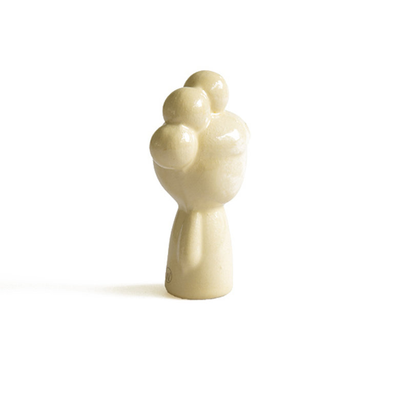 Atelier W.-collectie Ceramic figurine Doll me up buns paleyellow with gold height 7cm