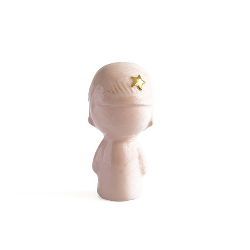 Atelier W.-collectie Ceramic figurine Doll me up bandana pink with gold height 6,5cm