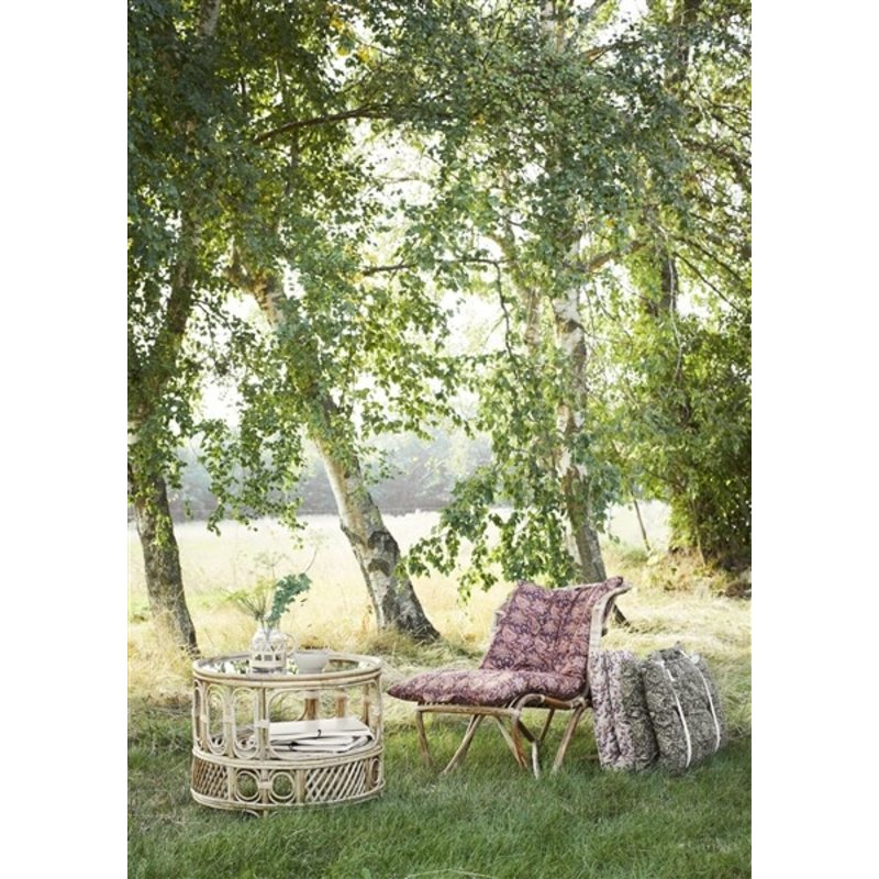 Madam Stoltz-collectie Printed cotton mattress Ruby wine, dusty rose, blue, honey 60x100 cm