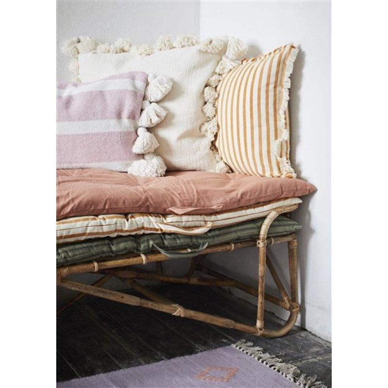Madam Stoltz-collectie Striped woven mattress Off white, dark honey 70x180 cm