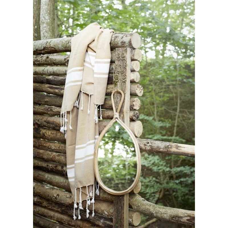 Madam Stoltz-collectie Oval mirror w/ bamboo frame