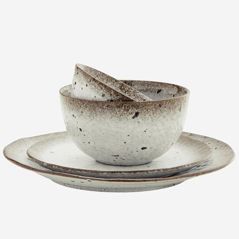 Madam Stoltz-collectie Kommetje wit-bruin klein