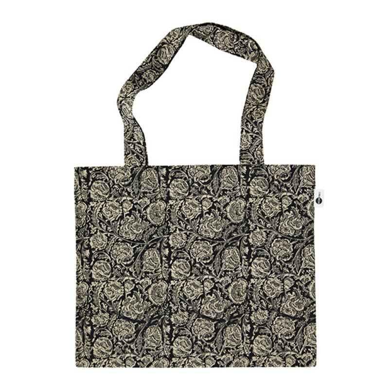 Madam Stoltz-collectie Totebag print zwart, grijs, beige