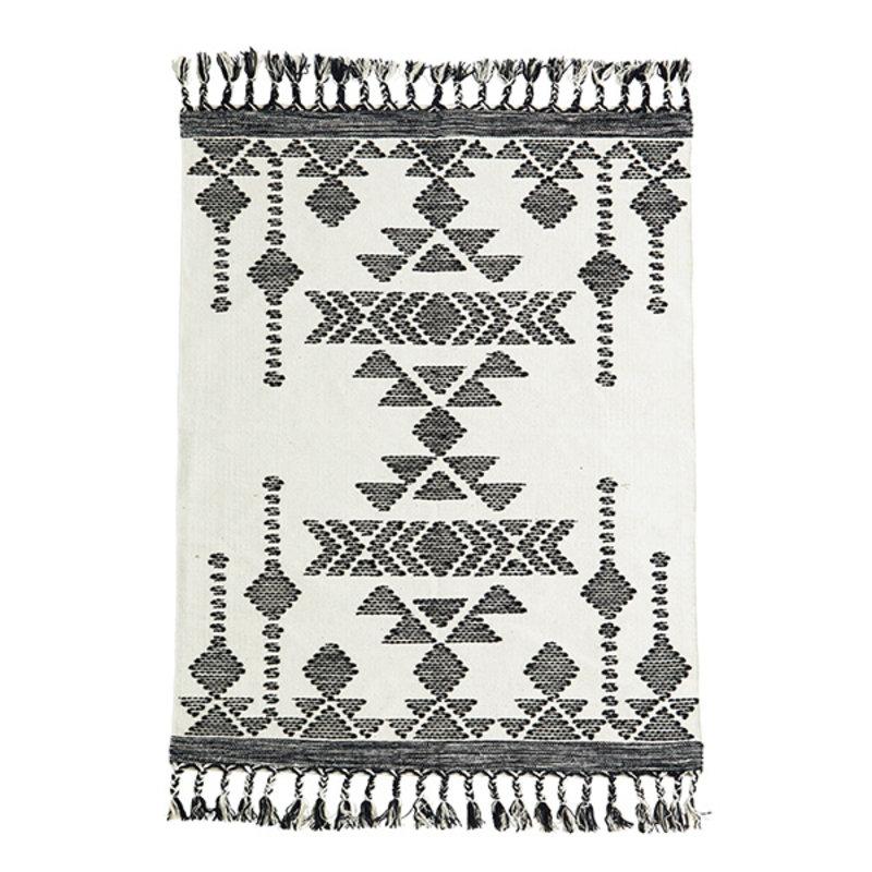 Madam Stoltz-collectie Vloerkleed handgeweven wit-zwart