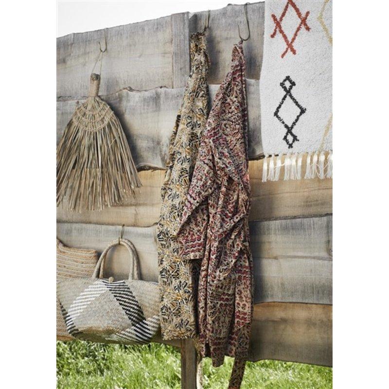 Madam Stoltz-collectie Kimono met print zand, mosterd, zwart grijs